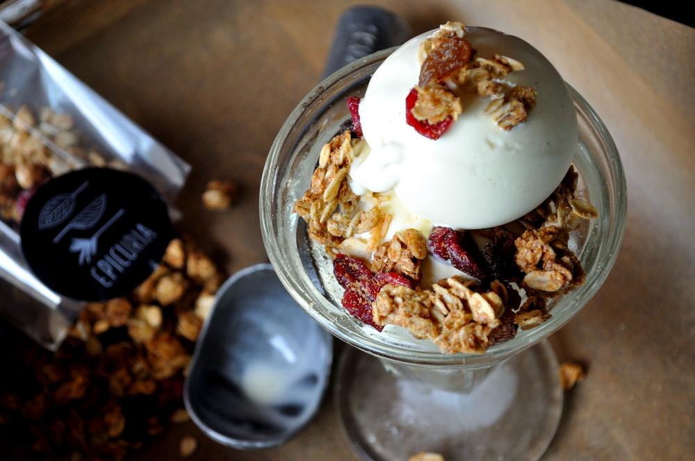 Pascale's Burboun Vanilla Ice Cream, Epicuria's Ganola Sundae - Epicuria Catering, Ottawa